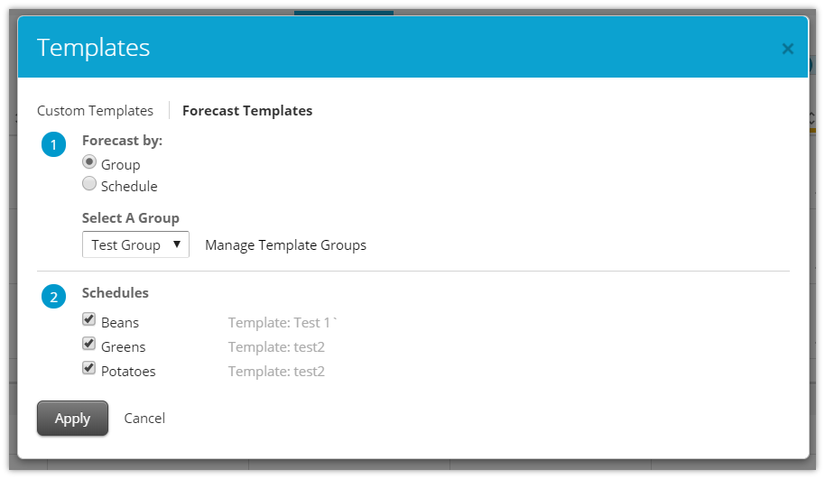 hs scheduler forecast templates customer care