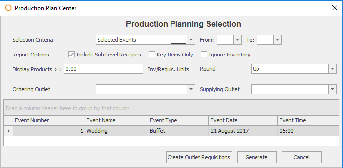 Production Planner default criteria