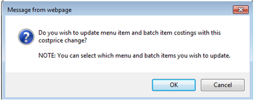 Fig. 7 This alert asks if all recipes should be updated upon deleting the supplier.