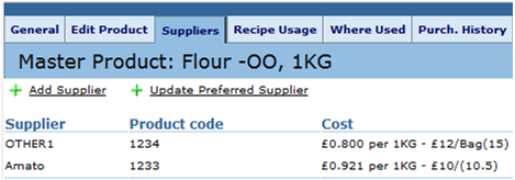 Fig. 1 The link to update preferred supplier is in Suppliers.