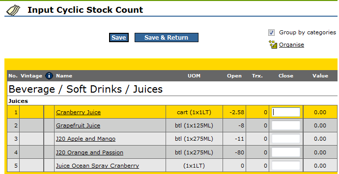 Fig 8 - Input Cyclic Stock Count Page