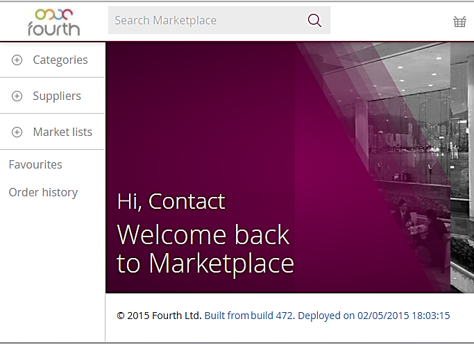 Fig 1 – Marketplace Landing Page with Search Box