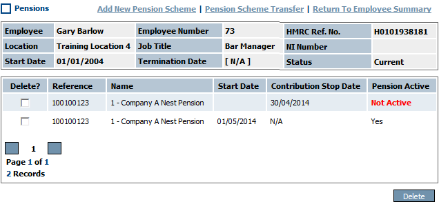 Fig 3 – Updated Pensions Page