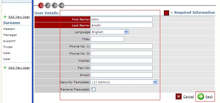Fig. 2 shows where to enter new user details