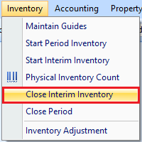 Close Interim Inventory