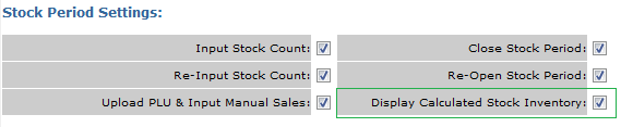 Fig 1 - Display Calculated Stock Inventory Setting